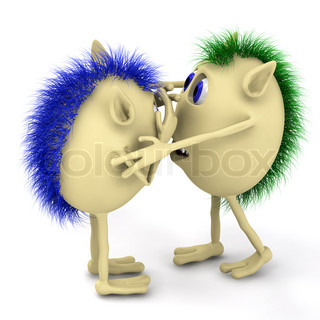 3d two character puppets hug on white background