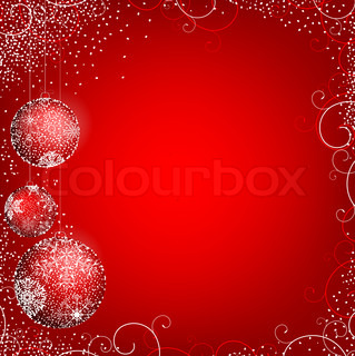 New year theme with decorative balls and copyspace in the red