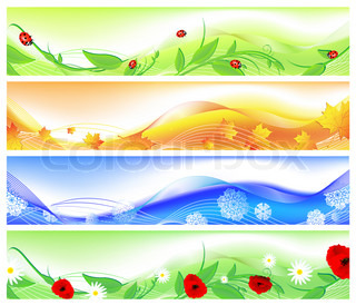 horizontal four seasons web banners. Summer, autumn, winter and spring