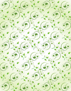illustration of wallpaper background with swirls in green