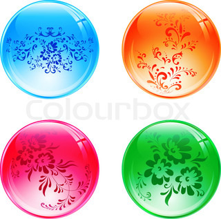 Four multicolored floral glossy decorative balls over white