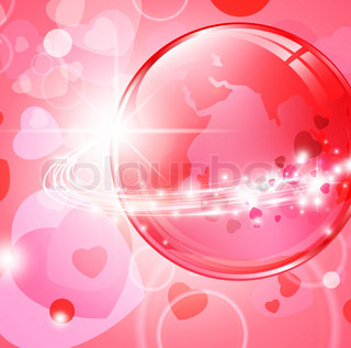 Earth with light fibers and hearts over pink