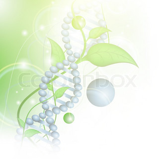 Organic Science theme with DNA and sprout over green background