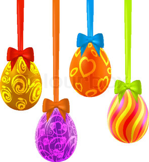Colorful easter eggs hanging on ribbons with bows. Vector eps10 illustration