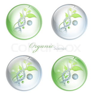 Organic Science glossy balls with DNA and green leaves over white background