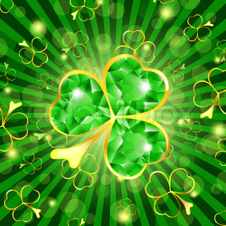 St.Patrick day theme: emerald shamrock over green background