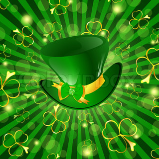 St.Patrick day theme: hat with bow over green background with shamrocks