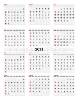 Illustration of 2012 standart wall calendar (size 11x17 inch) with ...