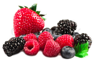 Berries a strawberry a raspberry a bilberry a blackberry isolated on a white background