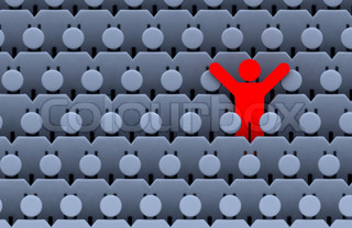 the one red standing men among large crowd grey people