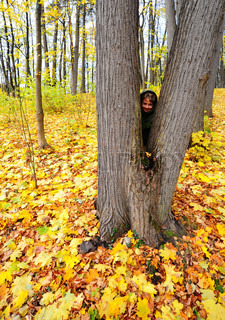 Smiling Boy Hid Behind a Tree In Autumn Forest