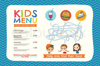 Kids menu vector template cartoon design with funny characters cute colorful kids meal menu template pronofoot35fo Images
