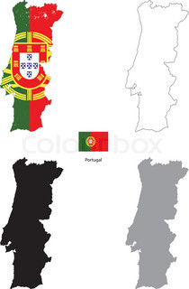 Abstract Vector Color Map Of Portugal Country Coloured By National - Portugal map flag