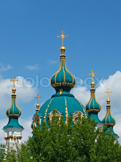 Domes of the famous St. Andrew's Church in Kiev, Ukraine