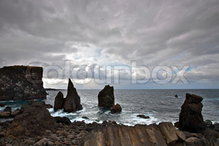 Sharp coastal rocks on the south west point of Iceland, Reykjanes