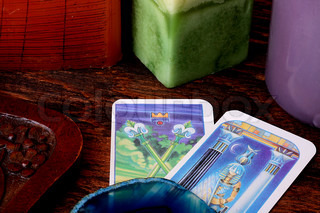 Cards tarot with a casket for their storage.