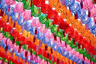 Colorful paper laterns at Jogyesa Temple for celetrating the Buddha's birthday