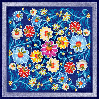 abstract floral ornament with color flowers on grunge blue background