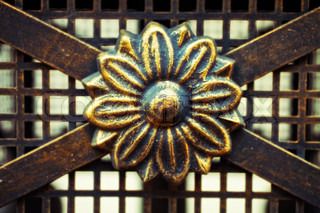 Detail of wrought old fence. Flower pattern