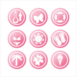 set of 9 pink beach signs