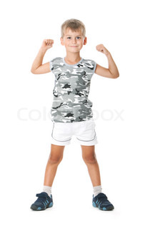 Boy on a white background. Shot in a studio