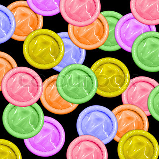 condoms of different colors isolated on black background