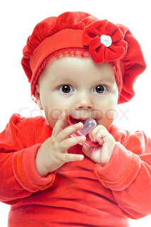 Portrait of cute baby girl with dummy. Isolated