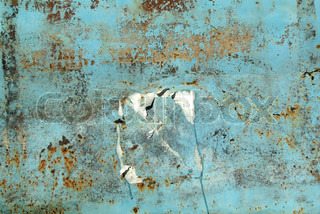 Texture of an rusty metal, painted in blue color