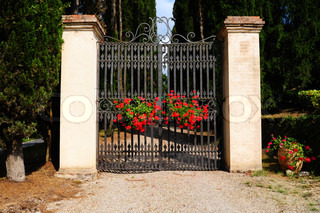 Typical Tuscan Steel Gate Decorated With Flowers