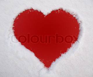 red heart and white snow