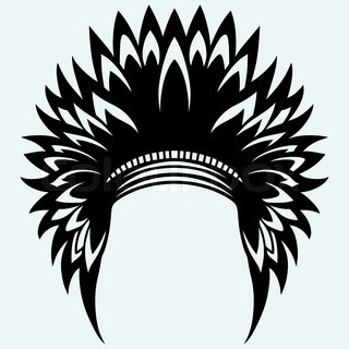 Native american indian headdress. Isolated on blue ...