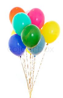 farverige balloner flok fyldt med helium isoleret på hvidt