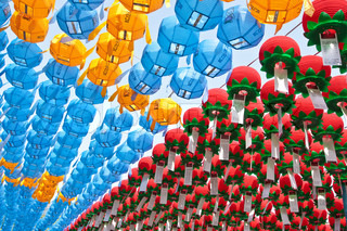 Colorful paper lanterns in buddhist temple for celebration Buddha's birthday