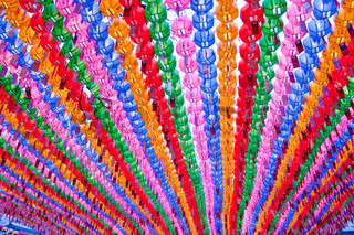 Colorful lanterns in buddhist temple during lotus festival for celebration Buddha's birthday