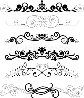 Vector illustration: set of swirling  decorative floral elements