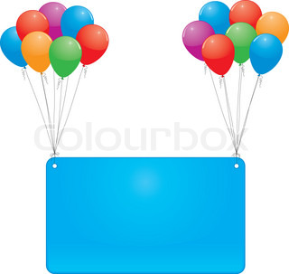 celebrate balloons and banner