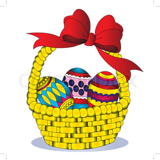 illustration basket with egg and bow