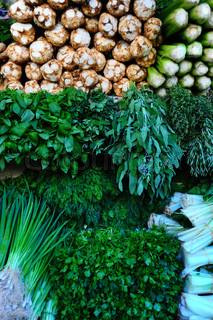 Many Of Fresh Green Vegetables On Market Stand