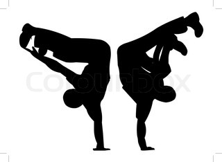 illustration two silhouettes in dance and sport