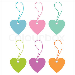 set of 6 colorful hearts tags