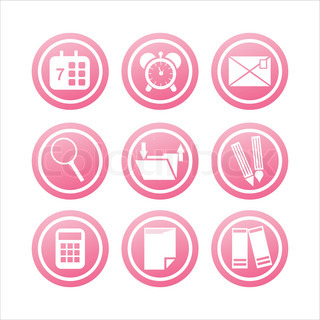 set of 9 pink office tools signs