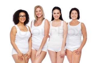 9d9895ca7d7 group of happy different women in white underwear ...