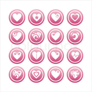 set of 16 pink hearts signs