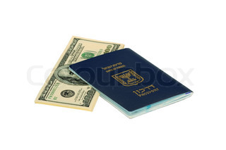 Israel Passport With Dollar Bills On White Background