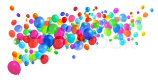 Lots of colorful birthday party balloons flying on white background