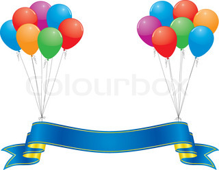 celebration banner and colorful balloon