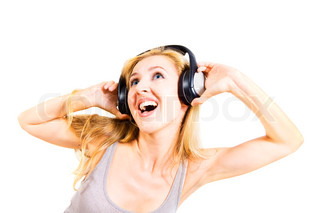 young woman singing with headphones isolated on white background