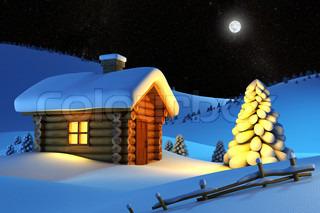 jul hus og grantræ i sne -drift bjerglandskab