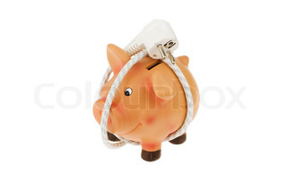 A piggy bank with power cord and plug. Save energy and save costs.