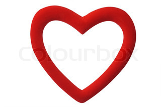 Decorative red heart with clipping path on white background
